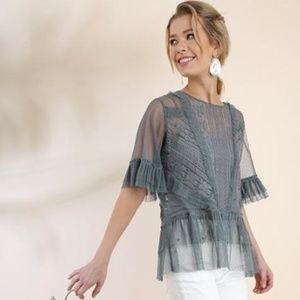 Umgee Gray Ruffled Sheer Lace Short Sleeve Top